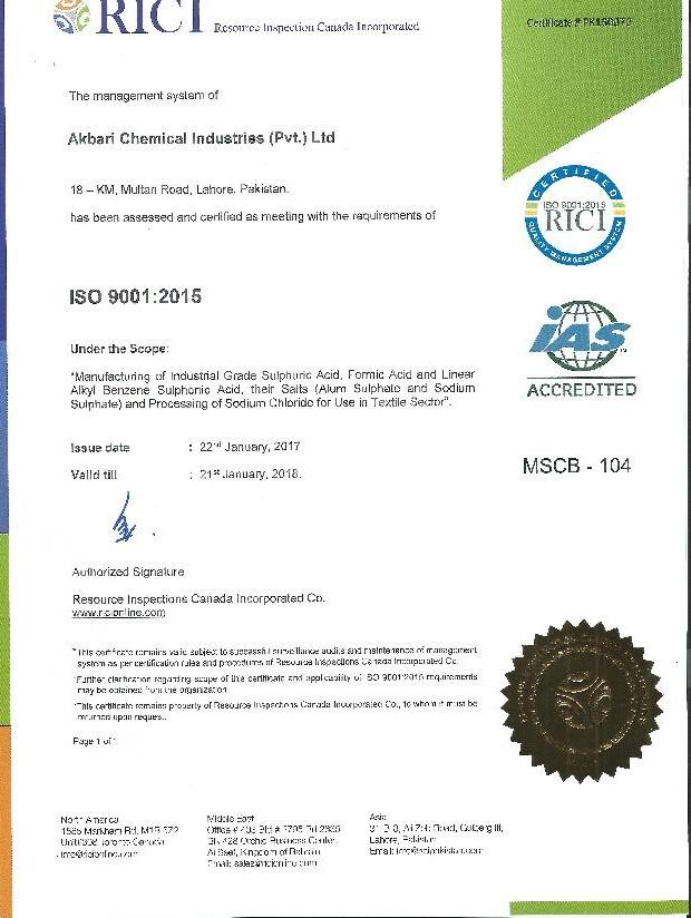 Akbari Chemical Industries (Pvt ) Ltd